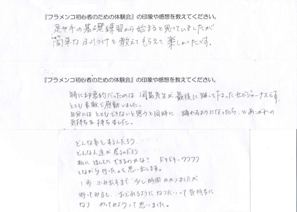 岡島久子フラメンコ教室の受講者アンケート(体験ー1)