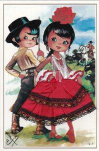スペインのフラメンコポストカード赤