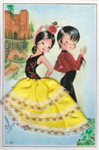 スペインのフラメンコポストカード黄