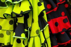 スペインのフラメンコスカートのフリル部分の写真