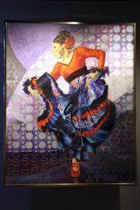 大阪梅田グランフロント大阪フラメンコライブで展示の岡島久子がモデルのフラメンコ絵画