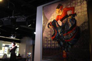 大阪梅田フラメンコライブで展示の岡島久子がモデルのフラメンコ絵画