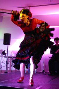 大阪京橋フラメンコライブでアレグリアスを踊る岡島久子の写真