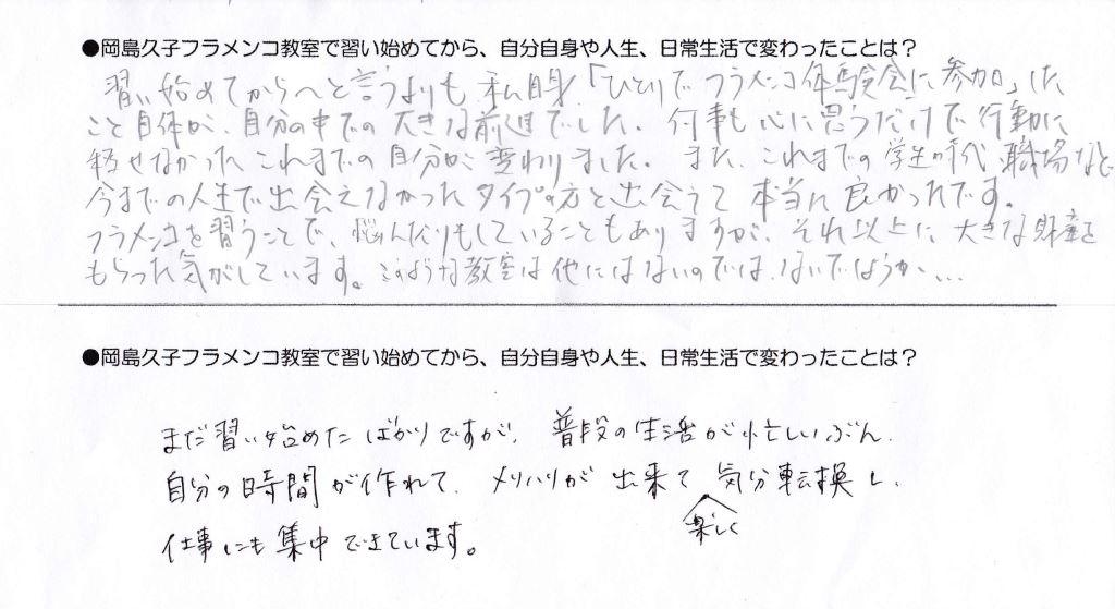 岡島久子フラメンコ教室生徒アンケート(受講の感想)