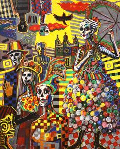 洋画家宮﨑泰樹先生の絵画「メキシコ死者の日の祭1」