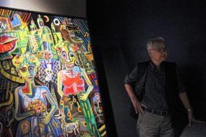 大阪梅田グランフロント大阪フラメンコライブで展示の宮﨑絵画と宮﨑先生