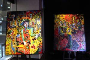 大阪梅田フラメンコライブ2018で会場展示した洋画家宮﨑泰樹さんの絵画2枚