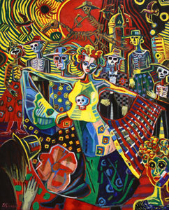 洋画家宮﨑泰樹さんの絵画「メキシコ死者の日の祭2」