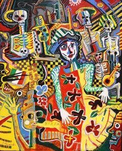 洋画家宮﨑泰樹さんの絵画「メキシコ死者の日の祭3」