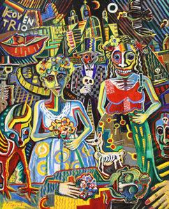 洋画家宮﨑泰樹さんの絵画「メキシコ死者の日の祭4」