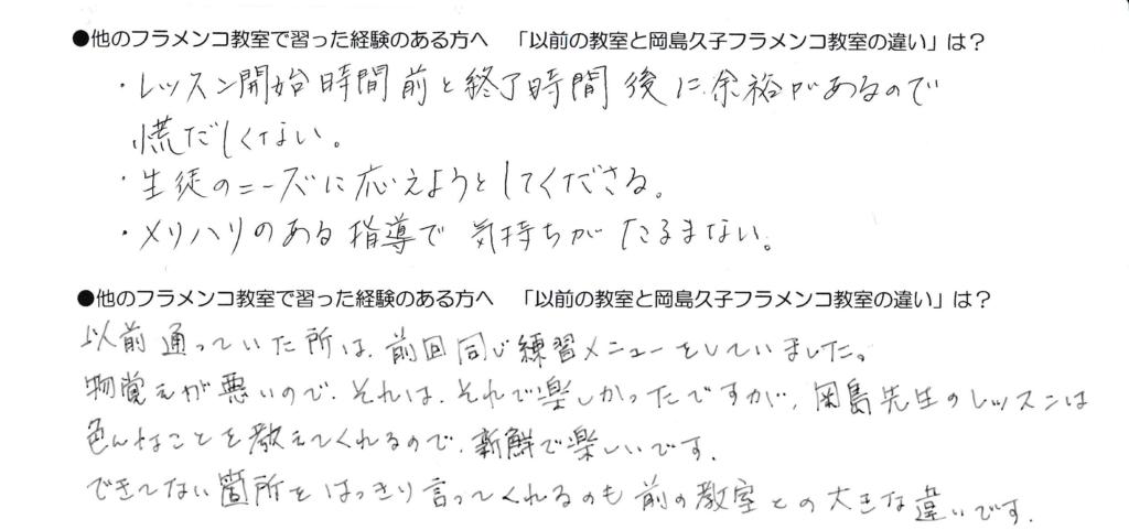 岡島久子フラメンコ教室の経験者生徒アンケート(受講の感想)