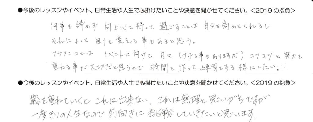 岡島久子フラメンコ教室の受講生アンケート(2019の抱負1)