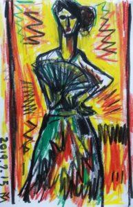 「フラメンコ夏の宴」イベントを観覧した洋画家宮崎泰樹氏によるデッサン画