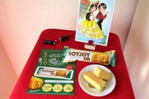 「大塚製薬SOYJOYスコーンバー」サンプル商品とパンフレットの写真(テーブル小)