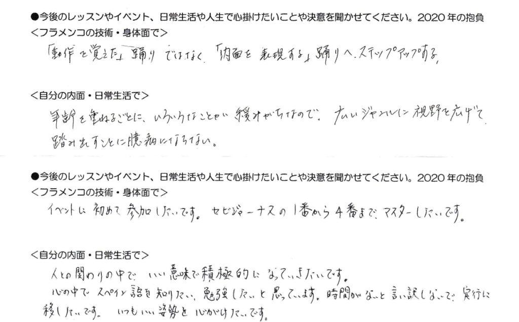 岡島久子フラメンコ教室の受講生アンケート(2020の抱負1)